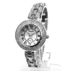 FW942B rotonda PNP Shiny Silver cassa dell'orologio quadrante bianco delle donne delle signore vigilanza del braccialetto
