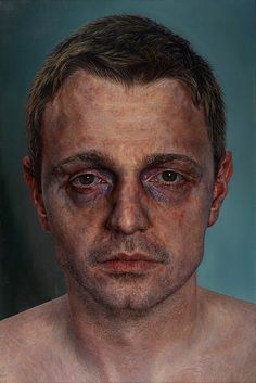"""""""Today You Were Far Away"""" - Ian Cumberland, oil on canvas, 2012 {figurative realism art male head bruised man face portrait texture painting} iancumberland.com"""