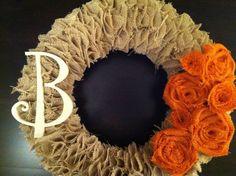 Tan Burlap Wreath with Orange Burlap Roses