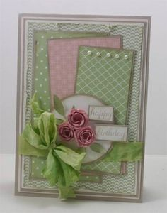 Stampin' Up! Blushing Bride and Pistachio Pudding. Very Vanilla seam binding wa. - Stampin' Up! Blushing Bride and Pistachio Pudding. Very Vanilla seam binding was dyed with Pista - Handmade Birthday Cards, Greeting Cards Handmade, Card Making Inspiration, Pretty Cards, Card Sketches, Paper Cards, Creative Cards, Flower Cards, Scrapbook Cards