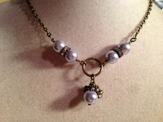 Lavender Pearl Necklace  Brass Jewelry  Pendant by cdjali on Etsy