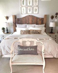 Super Farmhouse Bedroom Design and Decor Ideas - Farmhouse Style - Bedrooms Small Master Bedroom, Master Bedroom Design, Cozy Bedroom, Home Decor Bedroom, Bedroom Designs, Bedding Decor, Master Suite, Bedding Sets, Farm Bedroom