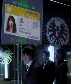 "Agent Hill is not proud of her S.H.I.E.L.D. ID. #Marvel Agents of S.H.I.E.L.D. #AoS #AgentsofSHIELD 1x01 ""Pilot"""