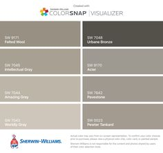 I found these colors with ColorSnap® Visualizer for iPhone by Sherwin-Williams: Felted Wool (SW 9171), Intellectual Gray (SW 7045), Amazing Gray (SW 7044), Worldly Gray (SW 7043), Urbane Bronze (SW 7048), Acier (SW 9170), Pavestone (SW 7642), Pewter Tankard (SW 0023).