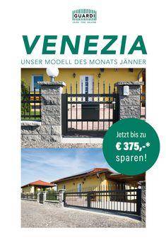 """Unser Modell des Monats """"VENEZIA"""" verbindet traditionelles Design mit italienischem Flair! Feinste Materialien machen unseren VENEZIA zum echten Hingucker! *Alle weiteren Infos auf unserer Webseite! Monat, Aluminum Fence, Mesh Fencing, Fence Ideas, Traditional Design, Website, Italy"""