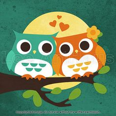 56B Bright Two Owls in Moonlight 6x6 Print by leearthaus on Etsy, $15.00