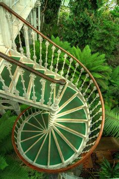 Green stairs descending into a beautiful garden. Kew Gardens in London.