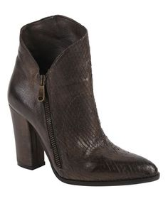 Brown Chocolate Leather Bootie