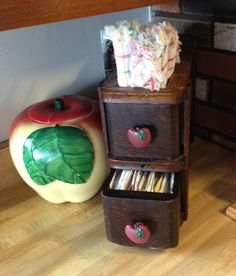 Antique Sewing Machine Drawers - Cleaned, Added Decorative Drawer Pulls - Repurposed as Recipe Box. Also shown, Hull Apple Cookie Jar