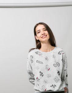 BSK all-over print sweatshirt - Sweatshirts - Bershka Turkey
