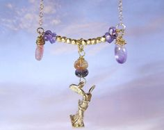 """moss amethyst,sunstone,tourmaline and  winged victory """"NIKE"""" necklace"""