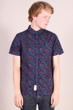 http://www.foxandfeather.co.uk/collections/mens-new-in/products/native-youth-maxi-herringbone-print-shirt  Native Youth Herringbone Print Shirt. All over herringbone print on a soft cotton blend short-sleeve shirt.