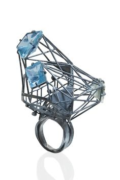 Jee Hye Kwon Ring Oxidized silver, aquamarine, spinel