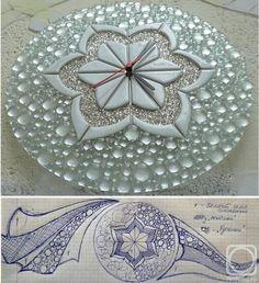 """Repina Elena. Wall clock """"The Snow Queen"""" glass fusing"""