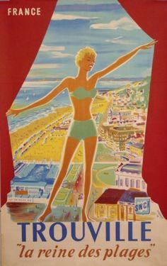Trouville La Reine de Plage - Normandie (France) Vintage travel beach poster #affiche #essenzadiriviera - www.varaldocosmetica.it/en