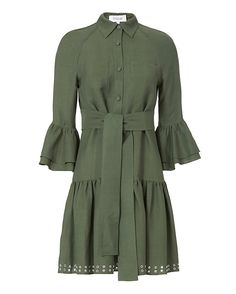 Derek Lam 10 Crosby Grommet Hem Flounced Shirtdress: This feminine, button-down shirtdress features a flounced hem with edgy grommet details. Collared, front button placket. Back overlay with self-tie waist straps. Tiered, bell sleeves in three-quarter length. In army green. Fabric: 70% viscose/30% ramie ...