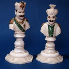 Indian Sahib Bust Ivory Chess Set 19th Century