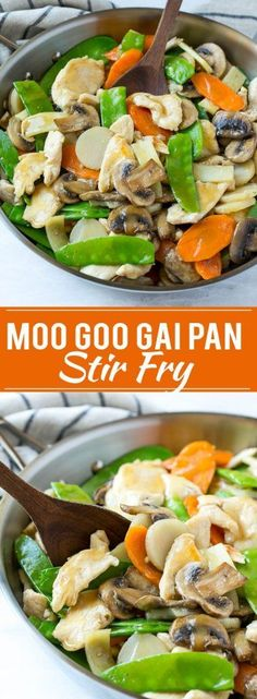 This recipe for moo goo gai pan is a classic dish of chicken and vegetables stir fried with a savory sauce. Plus secret tips on how to make your stir fries taste like they came from a restaurant! chicken recipes for dinner Chinese Chicken Recipes, Easy Chinese Recipes, Healthy Chicken Recipes, Diet Recipes, Cooking Recipes, Recipe Chicken, Keto Chinese Food, Chinese Food Dishes, Bon Appetit