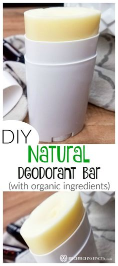 Worried about the toxic ingredients in conventional deodorants? Try this DIY natural deodorant recipe bar made with organic ingredients. Your armpits will thank you! #DIYbeauty #deodorant #MamaInstinctsBlog