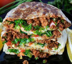 Pita Recipes, Greek Recipes, Indian Food Recipes, Ground Lamb Recipes, Lamb Gyros, Food Network Recipes, Cooking Recipes, Pita Pockets, Lamb Dishes