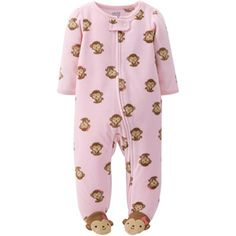 Child of Mine by Carter's Newborn Baby Girl Zip Front Microfleece Sleep N Play