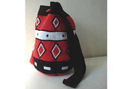 Tapestry tas, Mochila tas, middelgrote wayuu tas, tas met kwasten, schouder tas, handtas, rode zwarte witte tas, gehaakte tapestry tas