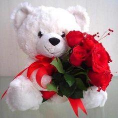 cute teddy with flowers