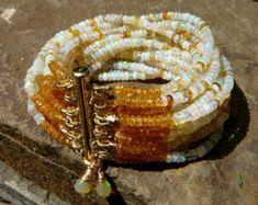 Multi Strand Ethiopian Opal Beaded Bracelet, Ethiopian Opal Bead Bracelet, Beaded Cuff Strand, Ethiopian Welo Opal, Opal Jewelry, Opal