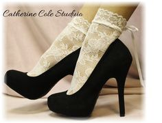 .WHITE Baby doll Lace socks for heels retro 80s look Holiday parties stretch lace socks flats or heels catherine cole studio