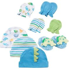 Gerber Newborn Baby Boy Blue 8 Piece Accessory Set ( Caps - 3 Pack, Mittens - 4 Pack and Velboa Bootie)