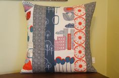 patchwork pillow cover, 20x20, grey, red, retro on Etsy, $35.56 AUD