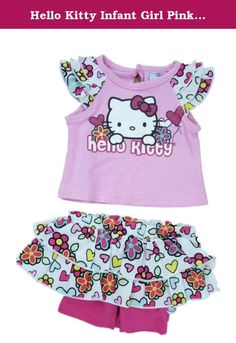 Hello Kitty Infant Girl Pink White Flower Short Sleeve Shirt Skort Shorts 0-3m. This super cute summer outfit includes a pink Hello Kitty print top with back button closure and flower print ruffled butterfly sleeves, and matching flower print elastic waistband ruffled skirt with hot pink built in shorts. Infant girl's sizes 2 Piece set 100% cotton Brand: Hello Kitty .