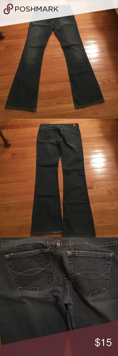 Abercrombie and Fitch jeans Abercrombie and Fitch jeans. Has stretch. EUC. Machine wash. Boot cut. Darker wash. 31 inch waist. 39 inches long. 31.5 inch inseam. Size 6. Make an offer. No trades. Abercrombie & Fitch Jeans