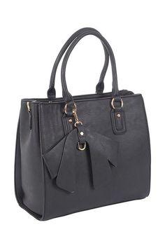 Bow Charm Tote Handbag. A medium sized grab bag with detachable bow charm.