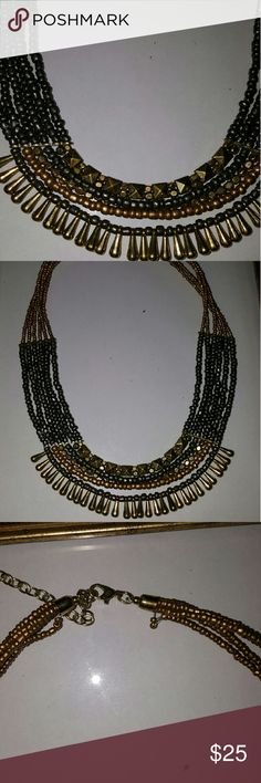 Necklace. (A7) Bold but delicate black/gold necklace!  I think Egyptian princess style!  Wear it dressy or casual.  You are sure to be noticed! Jewelry Necklaces