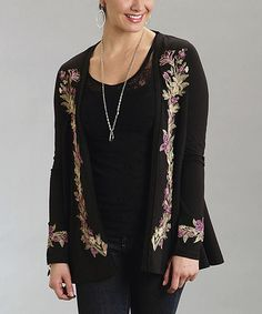 Another great find on #zulily! Black Floral Embroidered Open Cardigan - Women #zulilyfinds