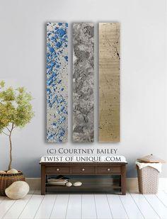 Metallic abstract  Painting  CUSTOM   panel 3 by TwistOfUnique, $499.00