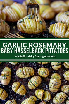 Garlic Rosemary Baby Hasselback Potatoes Garlic Rosemary Baby Hasselback Potatoes are a delicious appetizer or side dish. You only need 5 simple ingredients to create these mini delights! Plus they're dairy free, & gluten free! via The Whole Cook Dairy Free Appetizers, Potato Appetizers, Yummy Appetizers, Dairy Free Recipes, Whole30 Recipes, Appetizer Ideas, Appetizer Recipes, Side Dishes For Bbq, Potato Side Dishes