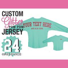 Custom Glitter Pom Pom Shirt / Personalized Billboard Jersey / Spirit Wear / Spirit Jersey / Gifts For Her / Sparkly Shirt / Glitz Sparkle by LabelStop $36.99