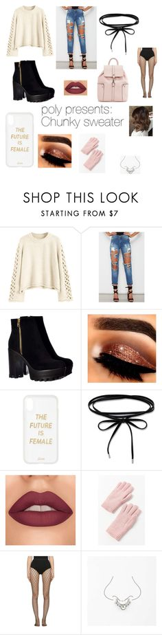 """PolyPresents: Chunky Sweater"" by pastelpinkskulls ❤ liked on Polyvore featuring Sonix, Urban Outfitters, Wolford and Miss Selfridge"