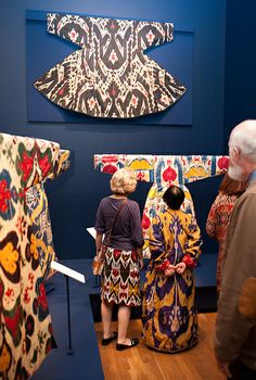 Opening Reception for Colors of the Oasis Textiles, Textile Patterns, Folklore, Textile Museum, Ikat Pattern, Triangle Scarf, Summer Scarves, Butterfly Pattern, Folk Costume