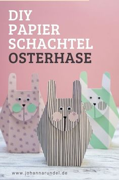 DIY (Oster-)Hasenschachtel aus Papier mit Download-Vorlage Diy Osterschmuck, Easy Diy, Paper Bunny, Diy Ostern, Diy Papier, Diy Easter Decorations, Easter Dinner, Easter Treats, Easter Baskets