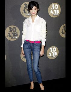 The Francophile's Style Guide: - Classic jeans (to the ankle) with a white button up shirt.