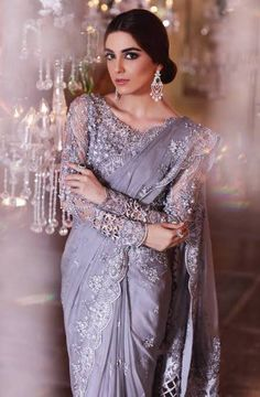 Maria B is introduced in popular and renowned fashion designers of Pakistan.Maria B was ornamented in 1999 and the owner of this label is Maria Belal. Hijab Wedding, Pakistani Wedding Outfits, Pakistani Dresses, Indian Dresses, Indian Outfits, Indian Saris, Shadi Dresses, Wedding Sari, Eid Dresses