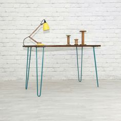 mesa / escritorio moderno vintage madera y pata acero edes