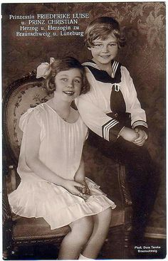 A delightful portrait of a young Princess Frederica with her 2nd youngest brother, Prince Christian Oskar.