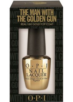 OPI The Man With The Golden Gun: 18kt real gold top coat that contains gold flecks for a bond girl manicure!