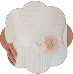 Braut Gürtel mit Seiden Blüte/n in Ivory und Apricot. 24 Farben. Wedding Belts, Sashes, Ribbons- Bridal Accessories. Ivory peach silk flower