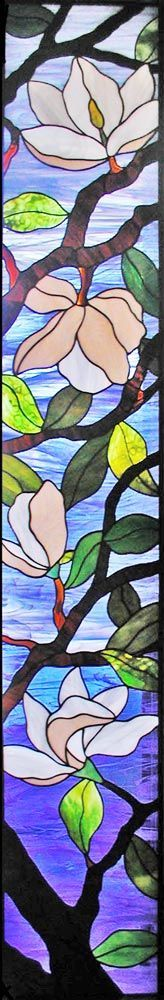 ZOOM magnolias custom stained and leaded glass windows