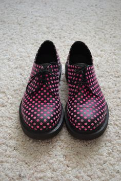 Dr. Martens Rare | rare black leather Dr Doc Martens oxford shoes with fuzzy pink polka ...